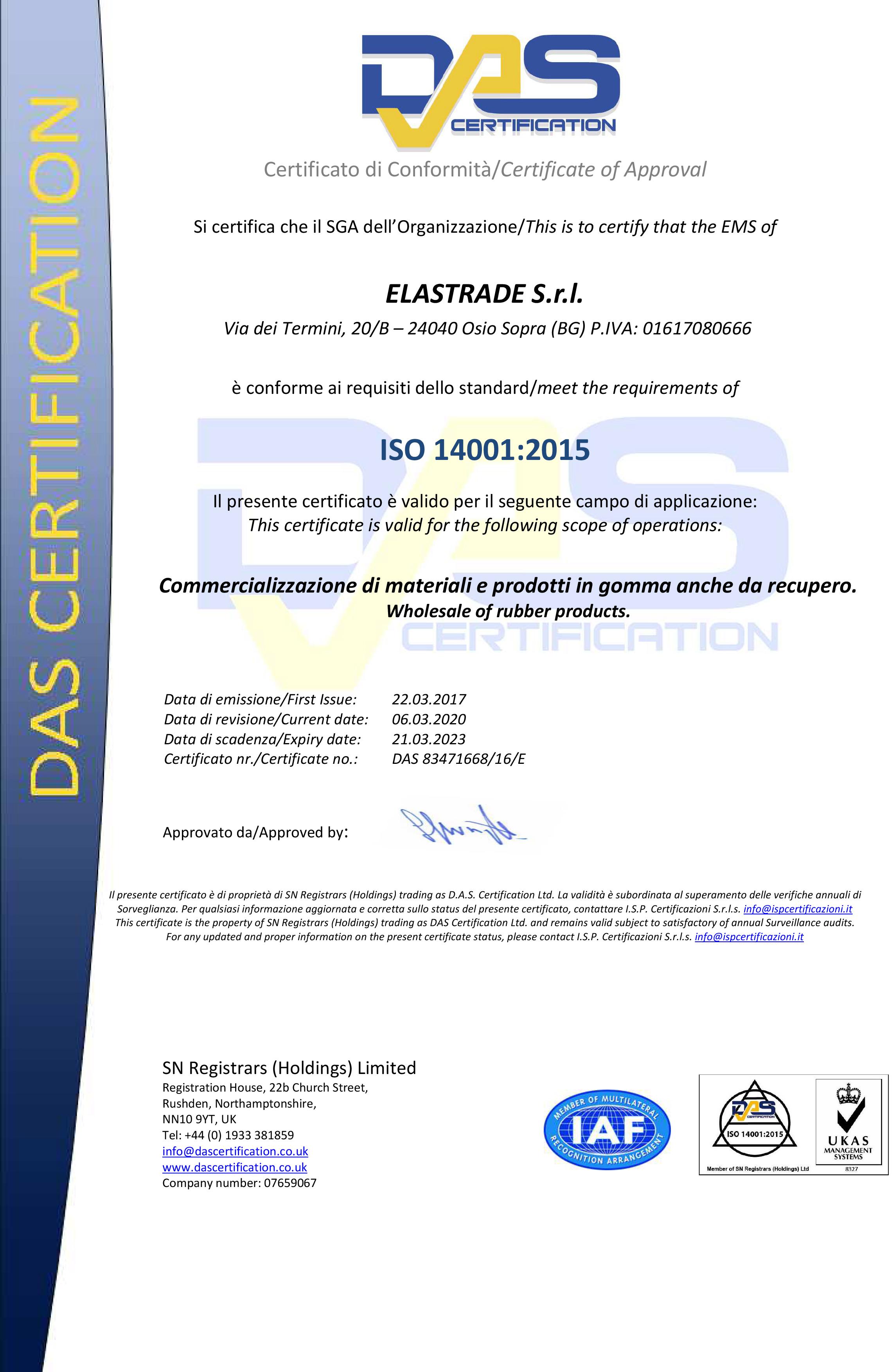 das certification ISO 14001:2015