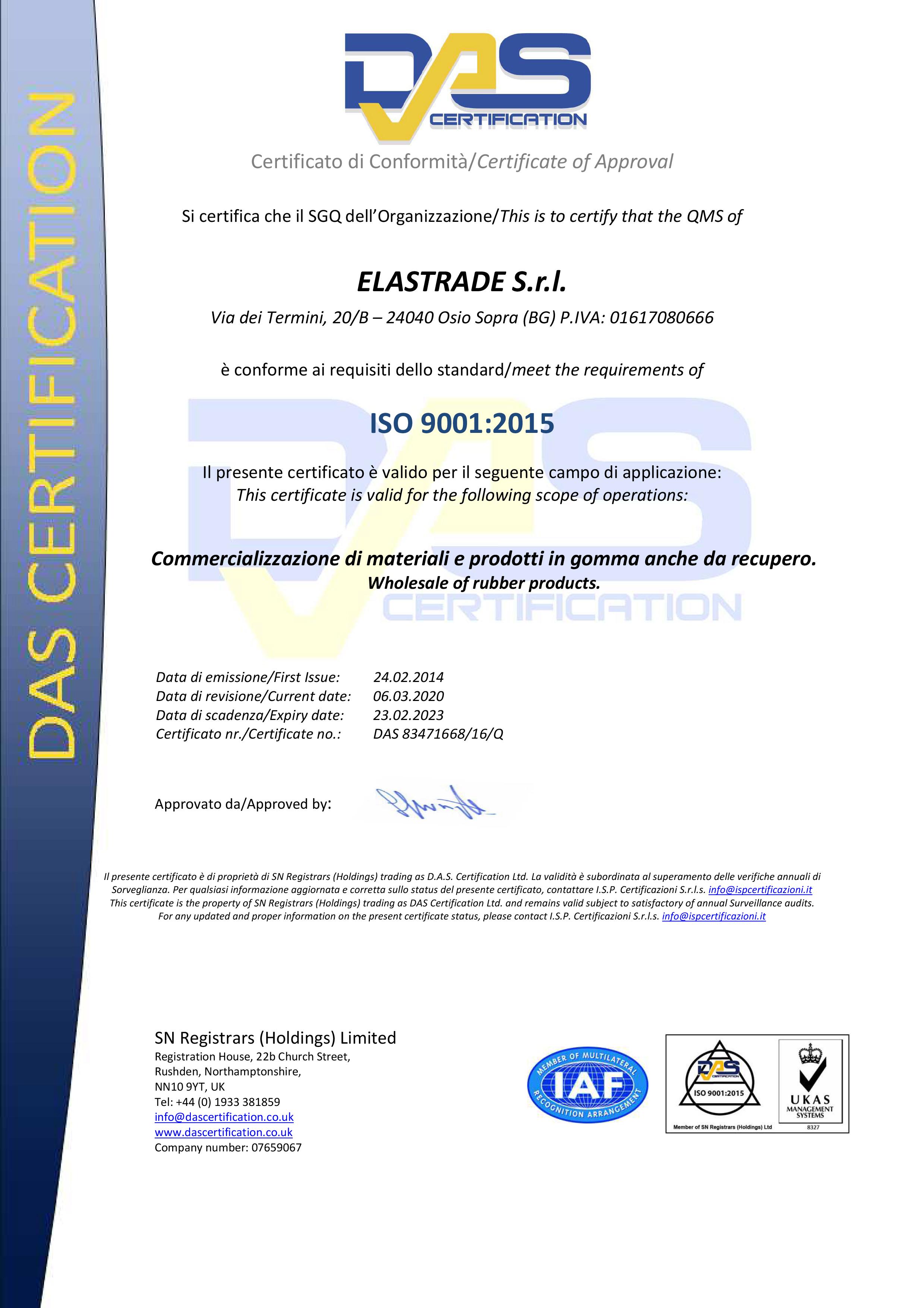 das certification ISO 9001:2015